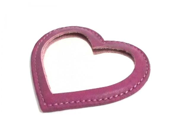 acca(アッカ) ミラー美品  ピンク ハート レザー×ガラス