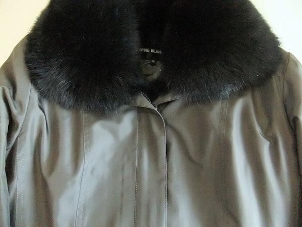 ラピーヌブランシュ コート サイズ38 M レディース美品  ダークグレー×黒