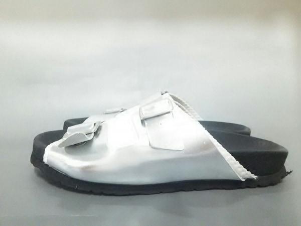 エーエムビー サンダル 37 レディース シルバー×アイボリー レザー×化学繊維