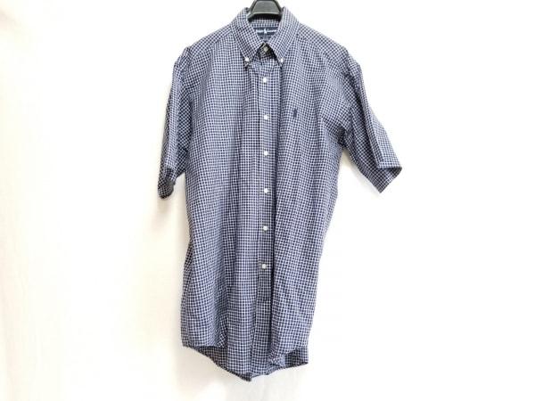 RalphLauren(ラルフローレン) 半袖シャツ サイズM メンズ ネイビー×白 チェック柄