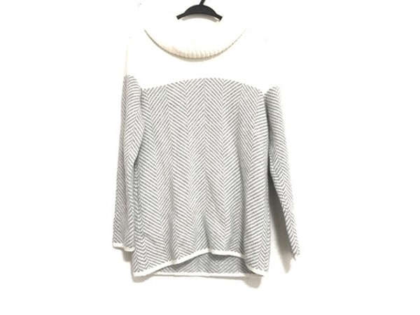 ジユウク 長袖セーター サイズ38 M レディース美品  ライトグレー×白 タートルネック