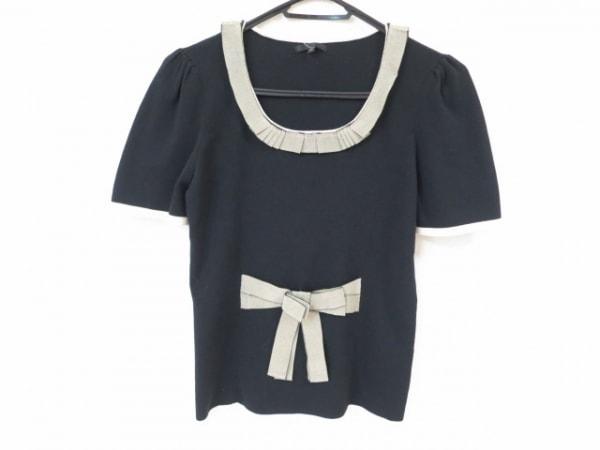 トゥービーシック 半袖カットソー サイズ3 L レディース美品  黒×ベージュ リボン