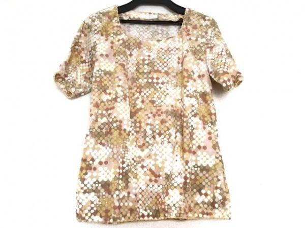 インゲボルグ 半袖Tシャツ レディース ベージュ×ブラウン×マルチ ドット柄