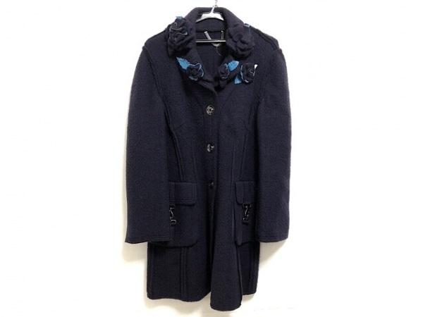 La ModaGOJI(ラモーダゴジ) コート サイズ11 M レディース 黒×ブルー フラワー