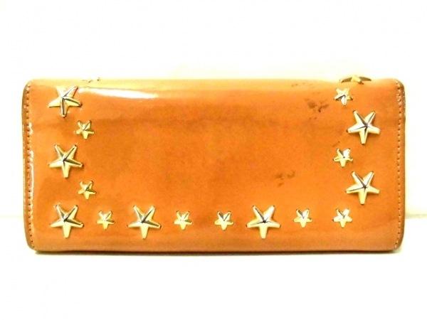 ジミーチュウ 長財布 フィリッパ ベージュ×ゴールド スタッズ エナメル(レザー)