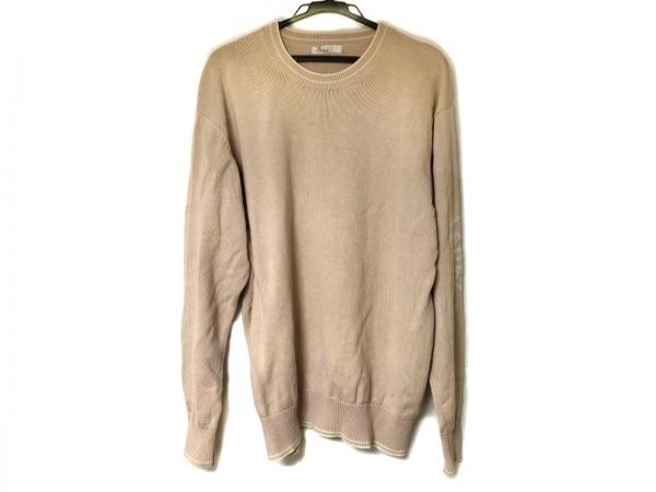 Papas(パパス) 長袖セーター サイズM メンズ美品  ピンベージュ×アイボリー