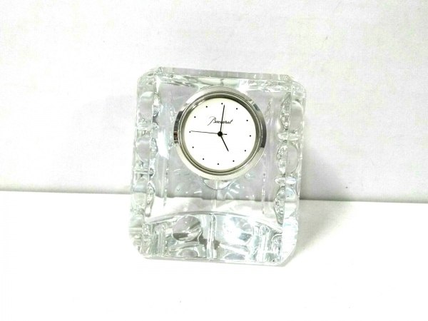 バカラ 小物新品同様  クリア×アイボリー 置時計(動作確認できず) クリスタルガラス