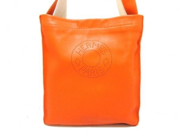 HERMES(エルメス) ショルダーバッグ美品  クルードセル オレンジ ラムスキン