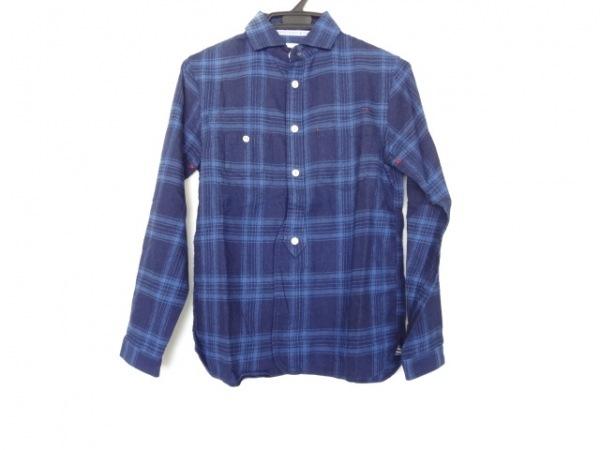 ナティックマリン 長袖シャツ サイズ2 M メンズ美品  ネイビー×ライトブルー