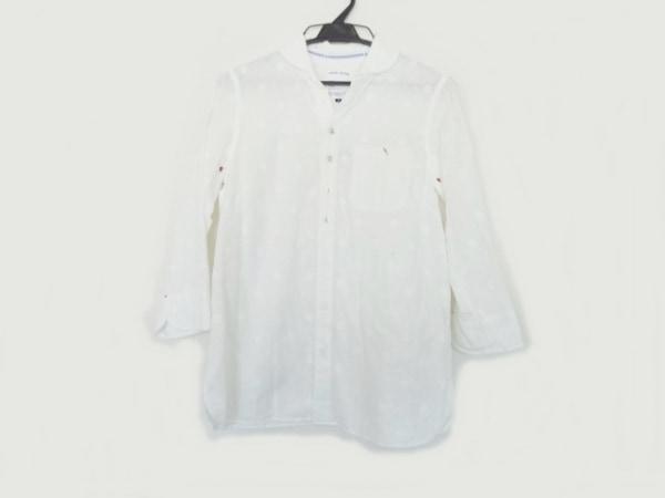 ナティックマリン 七分袖シャツ サイズ2 M メンズ 白×レッド ドット柄/刺繍