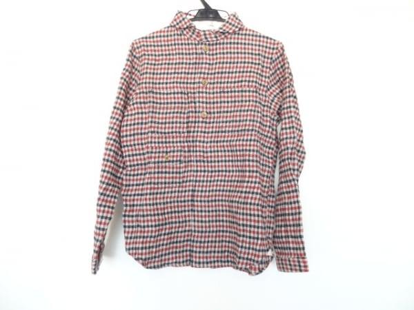 ナティックマリン 長袖シャツ サイズ2 M メンズ美品  レッド×ダークグリーン×白