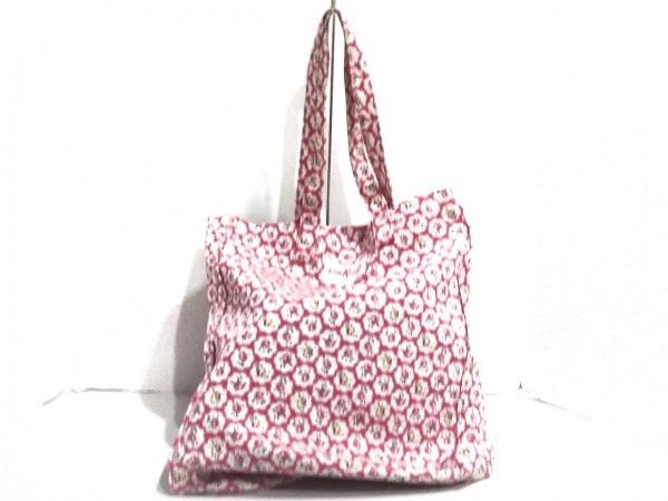 キャスキッドソン トートバッグ美品  ピンク×アイボリー×マルチ 花柄 キャンバス