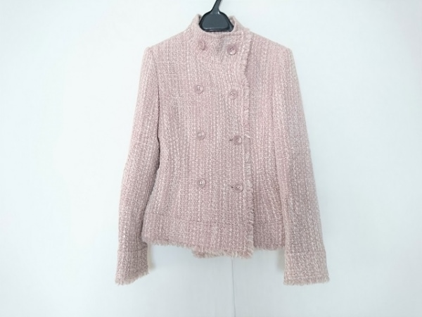 NICOLE(ニコル) コート サイズ38 M レディース美品  白×ピンク ショート丈/ラメ
