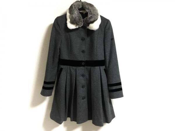 ラブレス コート サイズ34 S レディース美品  グレー×黒×マルチ ファー/冬物