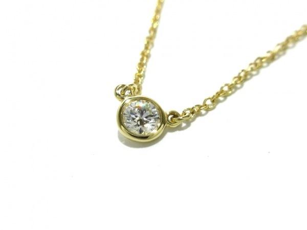ティファニー ネックレス新品同様  バイザヤード K18YG×ダイヤモンド 1Pダイヤ