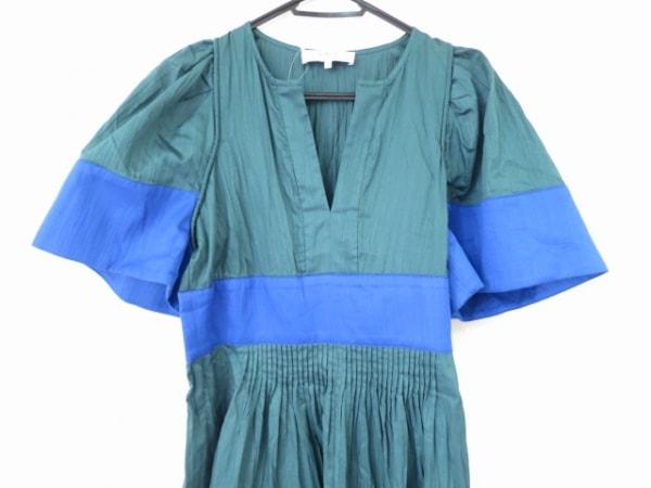 sea(シー) ワンピース サイズ2 M レディース美品  グリーン×ブルー ピンタック