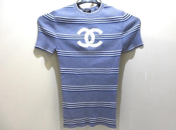 CHANEL(シャネル) 半袖セーター サイズ34 S レディース美品  P60474K46046 ブルー×白