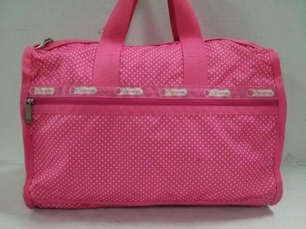 レスポートサック ボストンバッグ美品  ピンク×白 ドット柄 レスポナイロン
