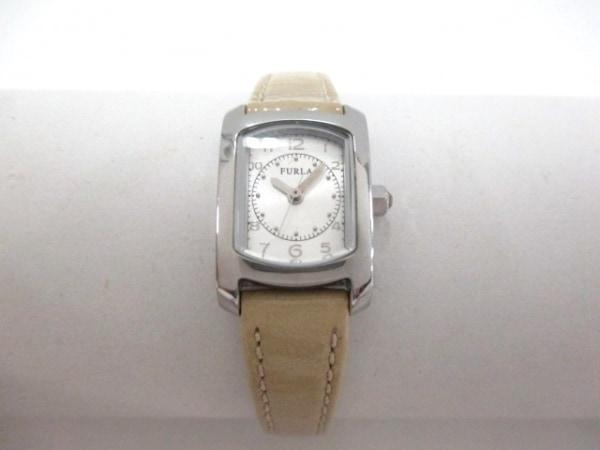 フルラ 腕時計 002844-02-8N レディース 型押し革ベルト/ラインストーン シルバー