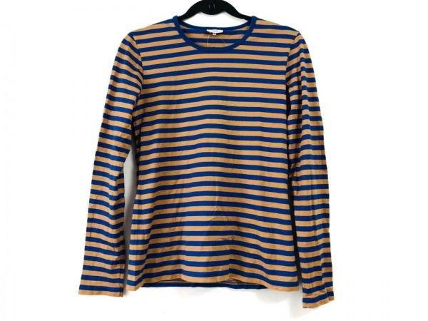 marimekko(マリメッコ) 長袖Tシャツ サイズM レディース ネイビー×ベージュ ボーダー