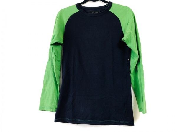 agnes b(アニエスベー) 長袖Tシャツ メンズ ネイビー×ライトグリーン