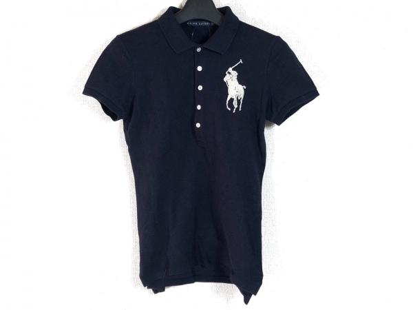ラルフローレン 半袖ポロシャツ サイズM レディース ビッグポニー ネイビー ビーズ