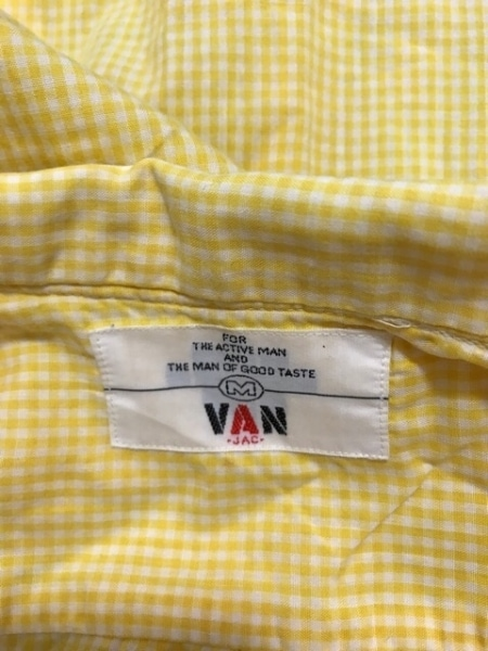 VAN(バン) 長袖シャツ サイズM メンズ美品  イエロー×白 チェック柄