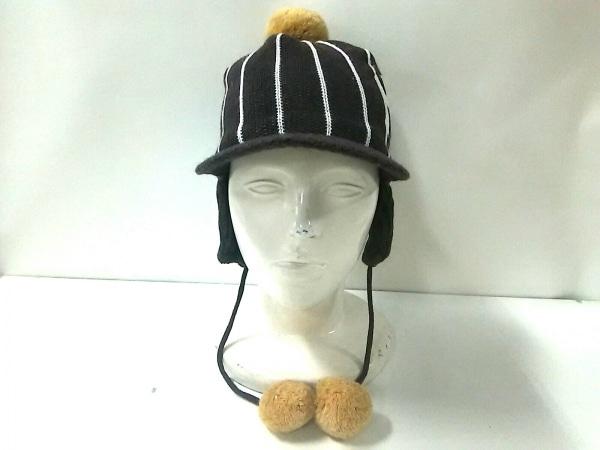 inhabitant(インハビタント) ニット帽 F美品  ダークブラウン×アイボリー×ベージュ