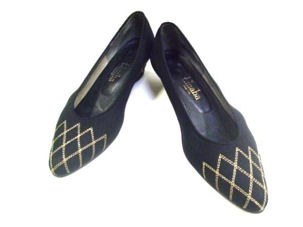 t.inaba(ティーイナバ) パンプス 22 1/2 レディース 黒×ゴールド 刺繍 スエード