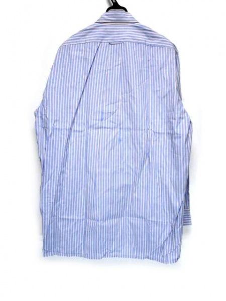 Faconnable(ファソナブル) 長袖シャツ サイズ4 XL メンズ ブルー×ピンク ストライプ