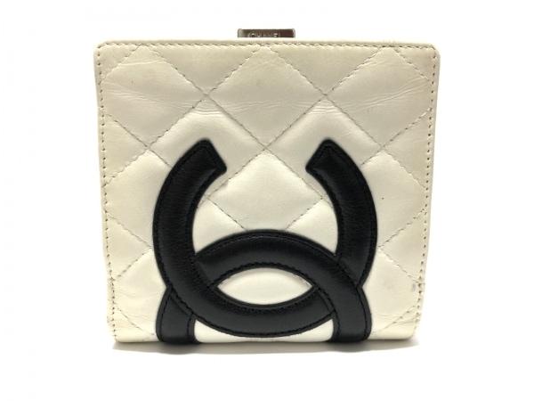CHANEL(シャネル) 2つ折り財布 カンボンライン 白×黒 がま口 ラムスキン