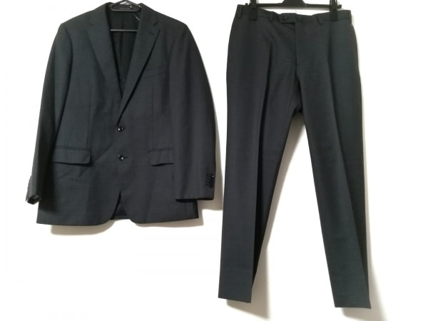 ヒルトン シングルスーツ サイズ94A6 メンズ ダークグレー×ライトグレー チェック柄