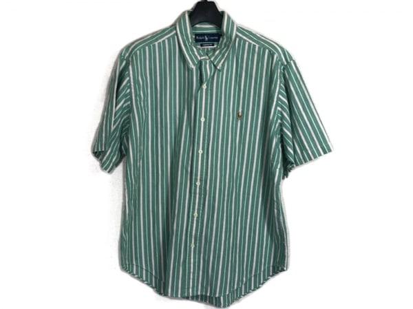 ラルフローレン 半袖シャツ サイズLL メンズ グリーン×ピンク×白 ストライプ