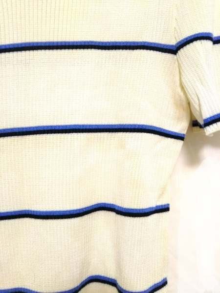 エスカーダ 半袖セーター サイズ38 L レディース美品  白×ブルー×黒 ボーダー