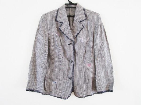イタリヤ ジャケット サイズ11 M レディース 黒×白 千鳥格子/ラインストーン