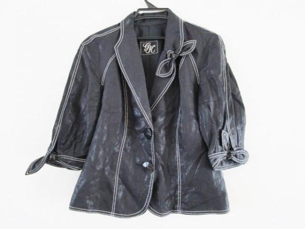イタリヤ ジャケット サイズ13 L レディース 黒×シルバー ステッチ