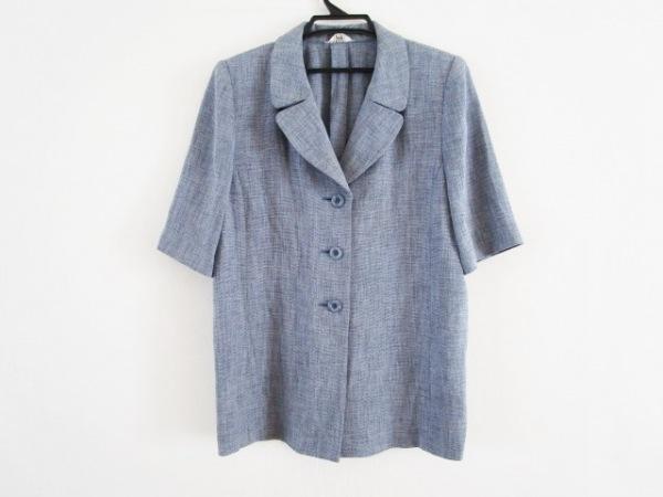 Leilian(レリアン) ジャケット サイズ13+ S レディース ブルー 肩パッド/半袖