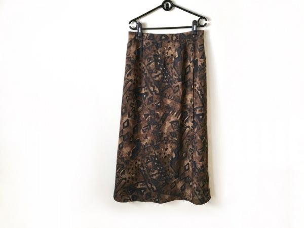 Leilian(レリアン) ロングスカート サイズ13 L レディース ブラウン×黒×マルチ