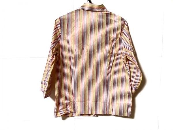 ピッコーネ 七分袖シャツブラウス サイズ40 M レディース オレンジ×パープル×マルチ