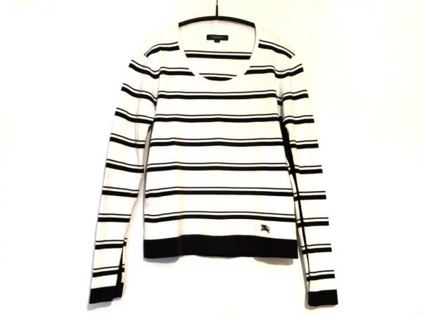 バーバリーロンドン 長袖カットソー サイズ2 M メンズ 白×黒 ボーダー