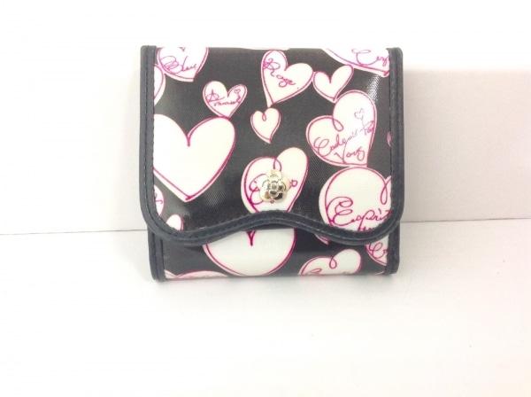 CLATHAS(クレイサス) Wホック財布 黒×白×ピンク コーティングキャンバス×レザー