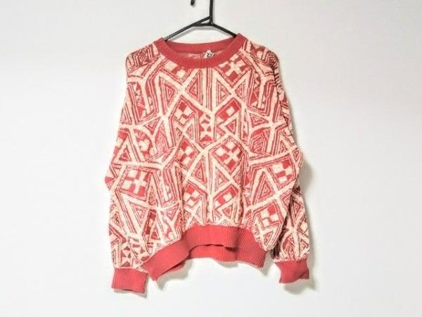 HERMES(エルメス) 長袖セーター サイズ38 S メンズ レッド×ベージュ×白