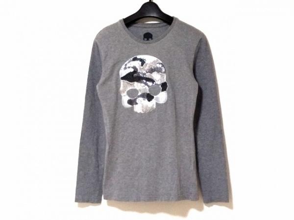 ハイドロゲン 長袖Tシャツ サイズM レディース グレー スパンコール/スカル/迷彩柄