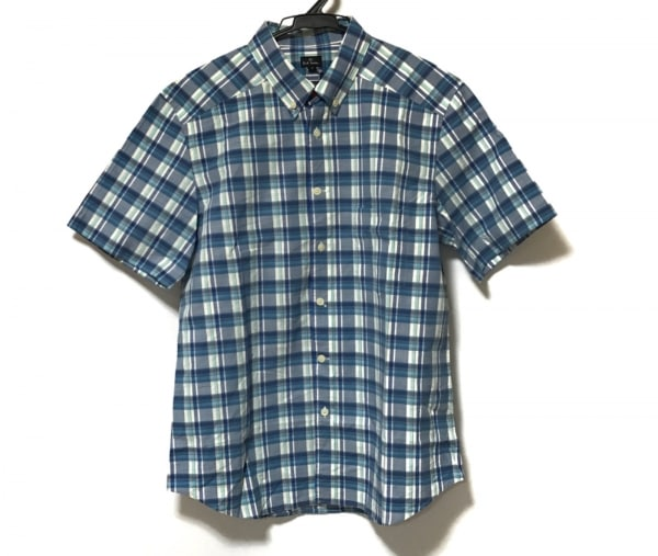 ポールスミス 半袖シャツ サイズL メンズ新品同様  ブルー×ライトブルー×白