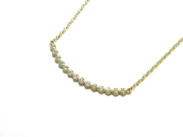 AHKAH(アーカー) ネックレス美品  K18YG×ダイヤモンド 0.10カラット/イニシャル:M