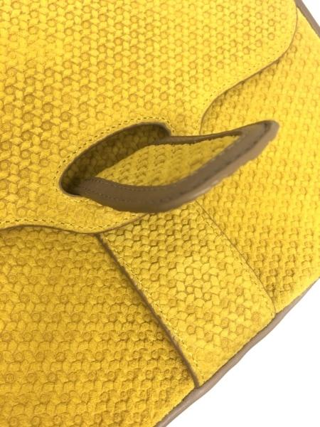 JAMIN PUECH(ジャマンピエッシェ) ショルダーバッグ ゴールド×ベージュ 型押し加工