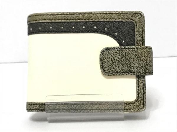 HIROKO HAYASHI(ヒロコハヤシ) 2つ折り財布 アイボリー×カーキ×黒 レザー