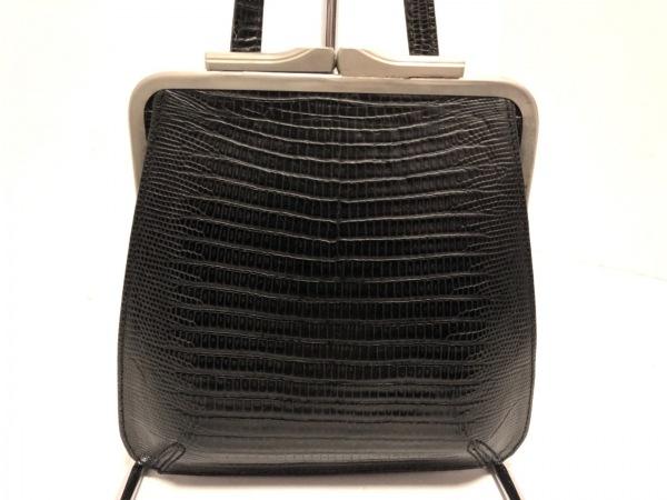ジョルジオアルマーニ ショルダーバッグ 黒×シルバー 型押し加工/がま口