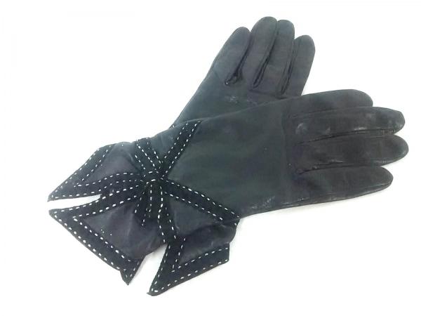 AGNELLE(アニエル) 手袋 レディース 黒 リボン レザー×スエード