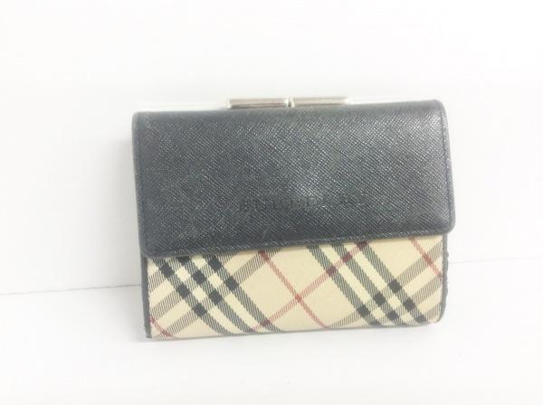 バーバリー 2つ折り財布 ベージュ×黒×レッド チェック柄/がま口 ジャガード